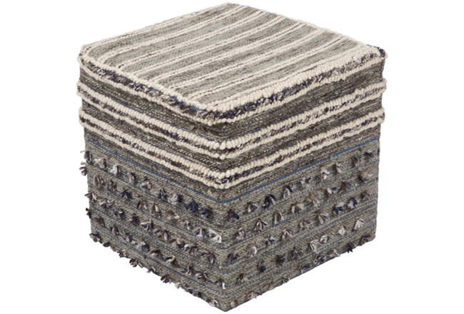 Pouf-Grey Multicolor With Tassle 18X18 - 360