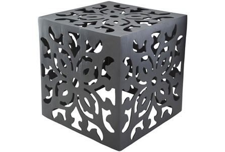 Charcoal Perforated Metal Stool