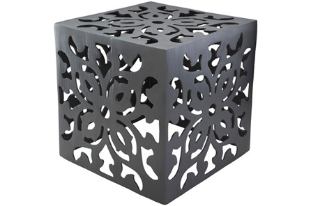 Charcoal Perforated Metal Stool - Main