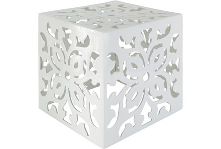 White Perforated Metal Stool
