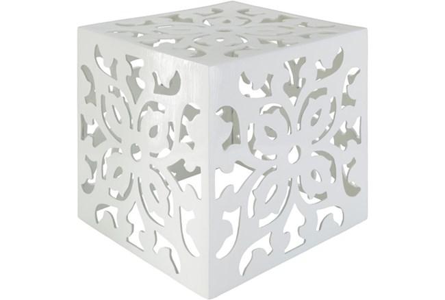 White Perforated Metal Stool - 360