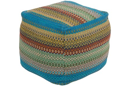 Pouf-Blue Multicolor Stripe - Main