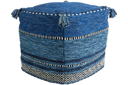 Pouf-Blue And Black Tassled - Main