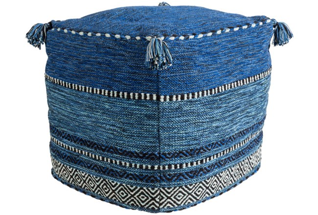 Pouf-Blue And Black Tassled - 360
