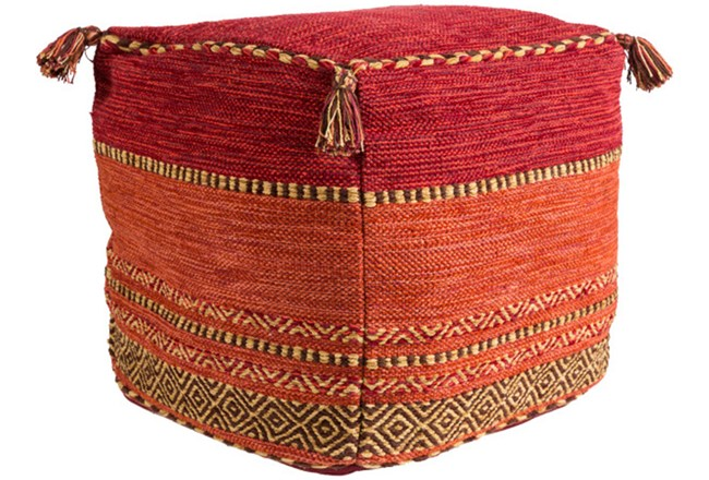 Pouf-Red And Orange Tassled - 360