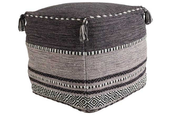 Pouf-Black And Grey Tassled - 360