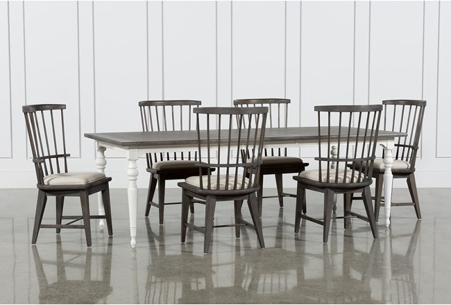 Candice II 7 Piece Extension Rectangular Dining Set With Slat Back Side Chairs - 360