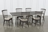 Candice II 7 Piece Extension Rectangular Dining Set With Slat Back Side Chairs - Top