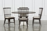 Candice II 5 Piece Round Dining Set With Slat Back Side Chairs - Signature