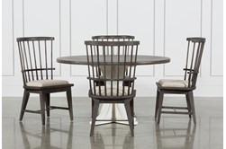 Candice II 5 Piece Round Dining Set With Slat Back Side Chairs