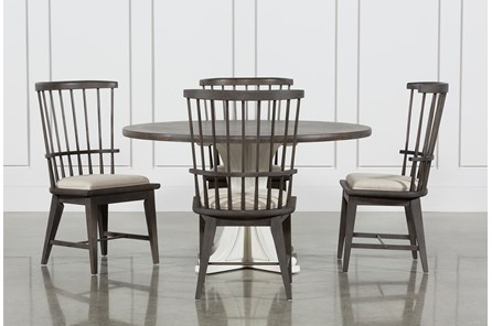 Candice II 5 Piece Round Dining Set With Slat Back Side Chairs - Main