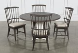 Candice II 5 Piece Round Dining Set With Slat Back Side Chairs - Top