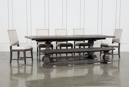 Norwood 7 Piece Rectangular Extension Dining Set With Bench & Uph Side Chairs