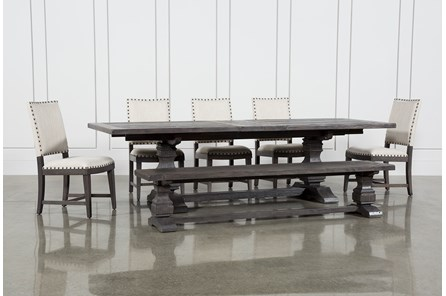 Norwood 7 Piece Rectangular Extension Dining Set With Bench Uph Side Chairs
