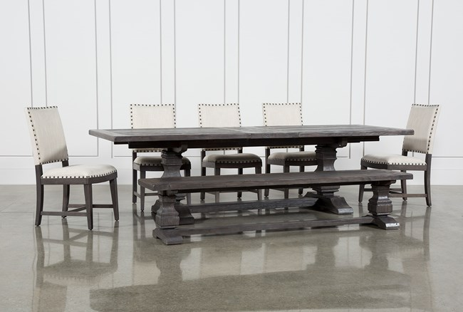 Norwood 7 Piece Rectangular Extension Dining Set With Bench & Uph Side Chairs - 360