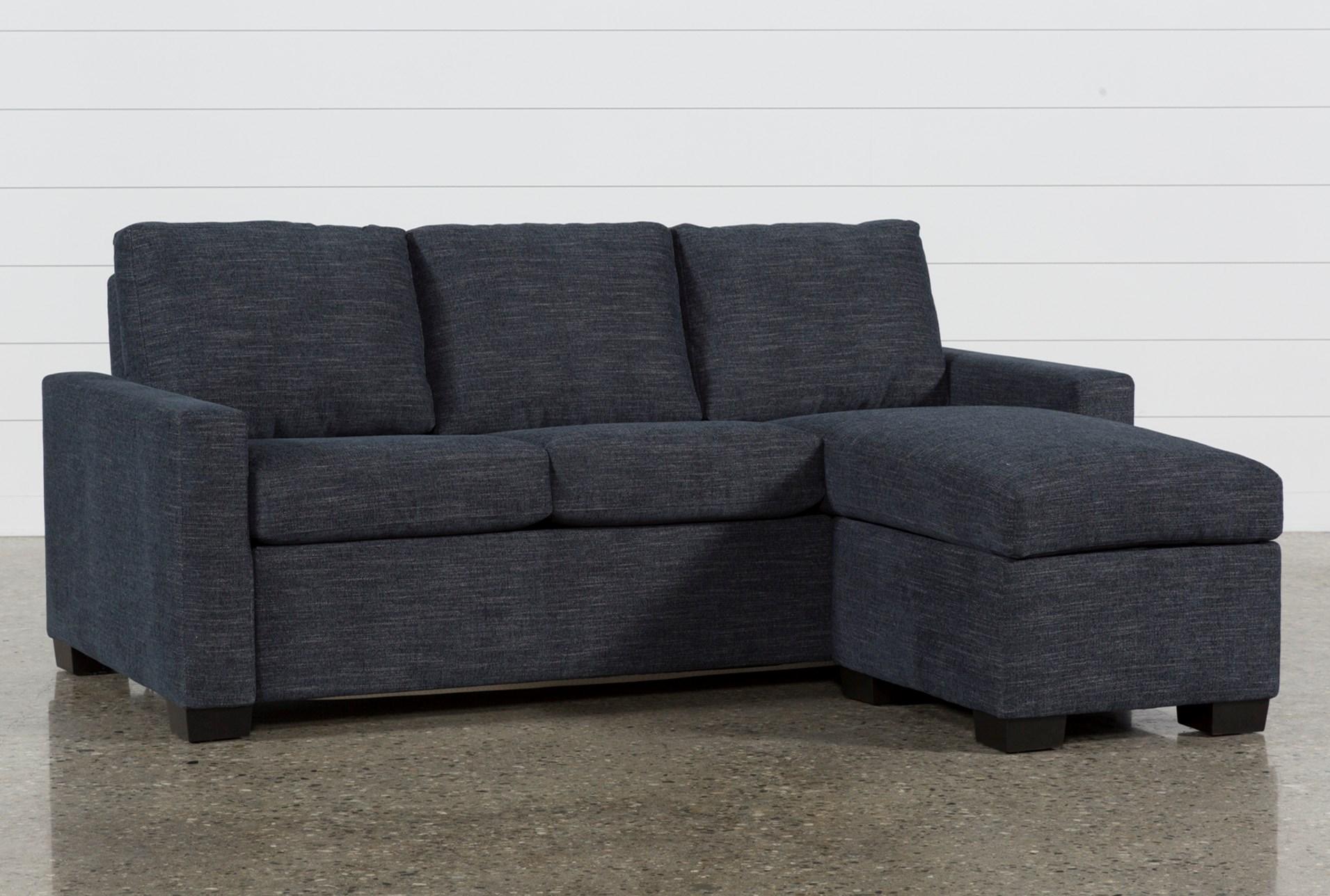 Mackenzie Denim Queen Plus Sofa Sleeper W Storage Chaise Living