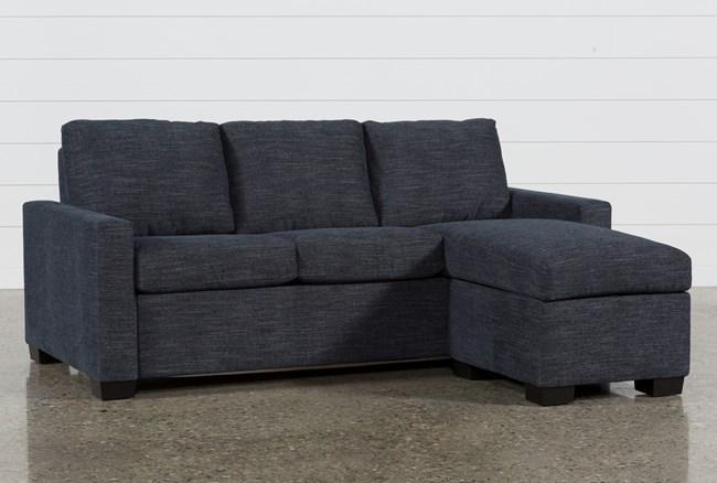Mackenzie Denim Queen Plus Sofa Sleeper W/ Storage Chaise - 360