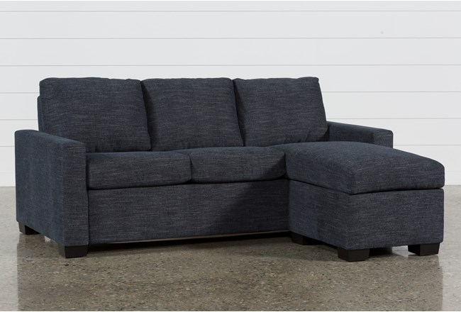 Mackenzie Denim Queen Plus Sofa Sleeper W Storage Chaise