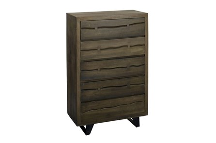 Dark Wood 5 Drawer Chest