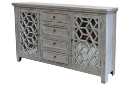 Mirrored 2 Door/4 Drawer Sideboard