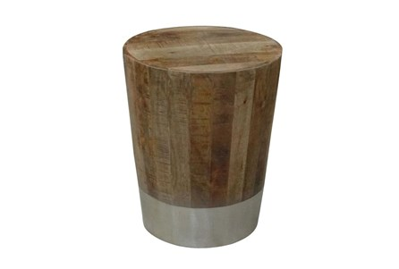Wood And Brass End Table