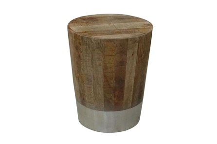Wood And Brass End Table - Main
