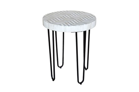 Bone Inlay Round Side Table
