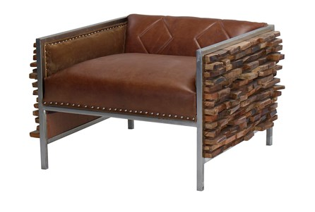 Corrugated Leather Mix Chair
