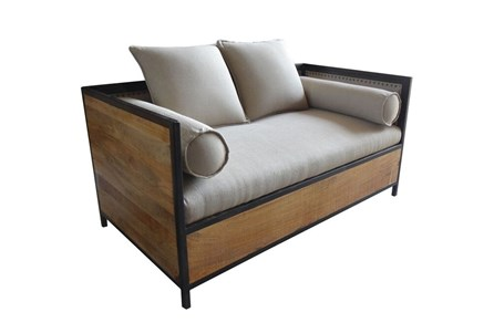 Wood And Upholstered Loveseat