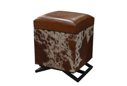 Square Cowhide Storage Ottoman