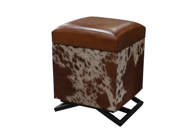 Square Cowhide Storage Ottoman - 360