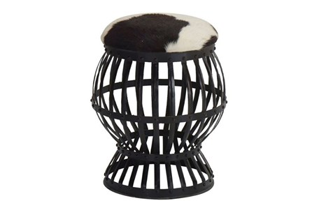 Iron Cowhide Circular Accent Stool