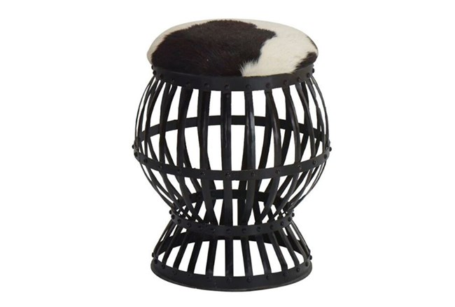 Iron Cowhide Circular Accent Stool - 360