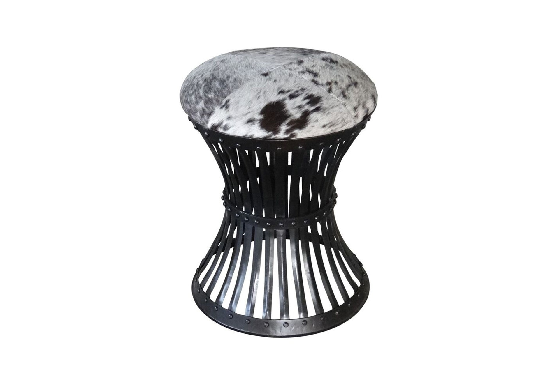 Iron Cowhide Accent Stool Living Spaces