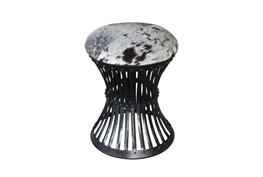 Iron Cowhide Accent Stool