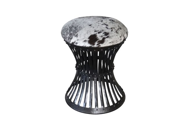 Iron Cowhide Accent Stool - 360