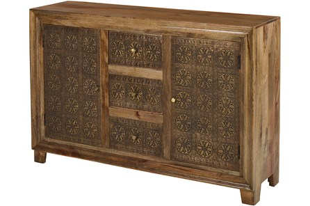 Brass Brocade 3 Drawer 2 Door Chest