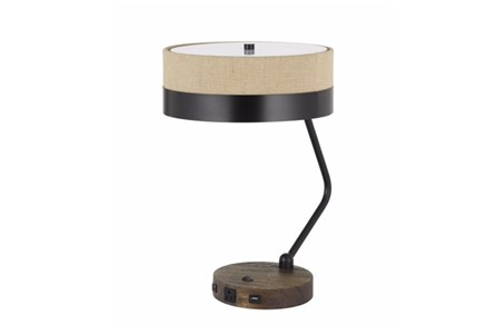 20 Inch Brown Wood + Metal Desk Task Lamp With Outlet + Usb Plug - Main