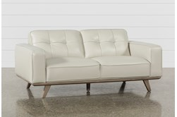 "Caressa Leather Dove Grey 72"" Loveseat"