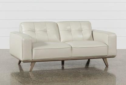 Astonishing Caressa Leather Dove Grey Loveseat Bralicious Painted Fabric Chair Ideas Braliciousco