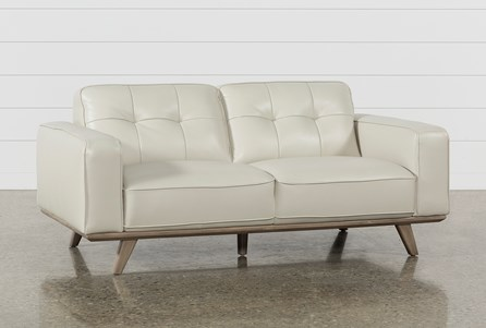 Caressa Leather Dove Grey Loveseat