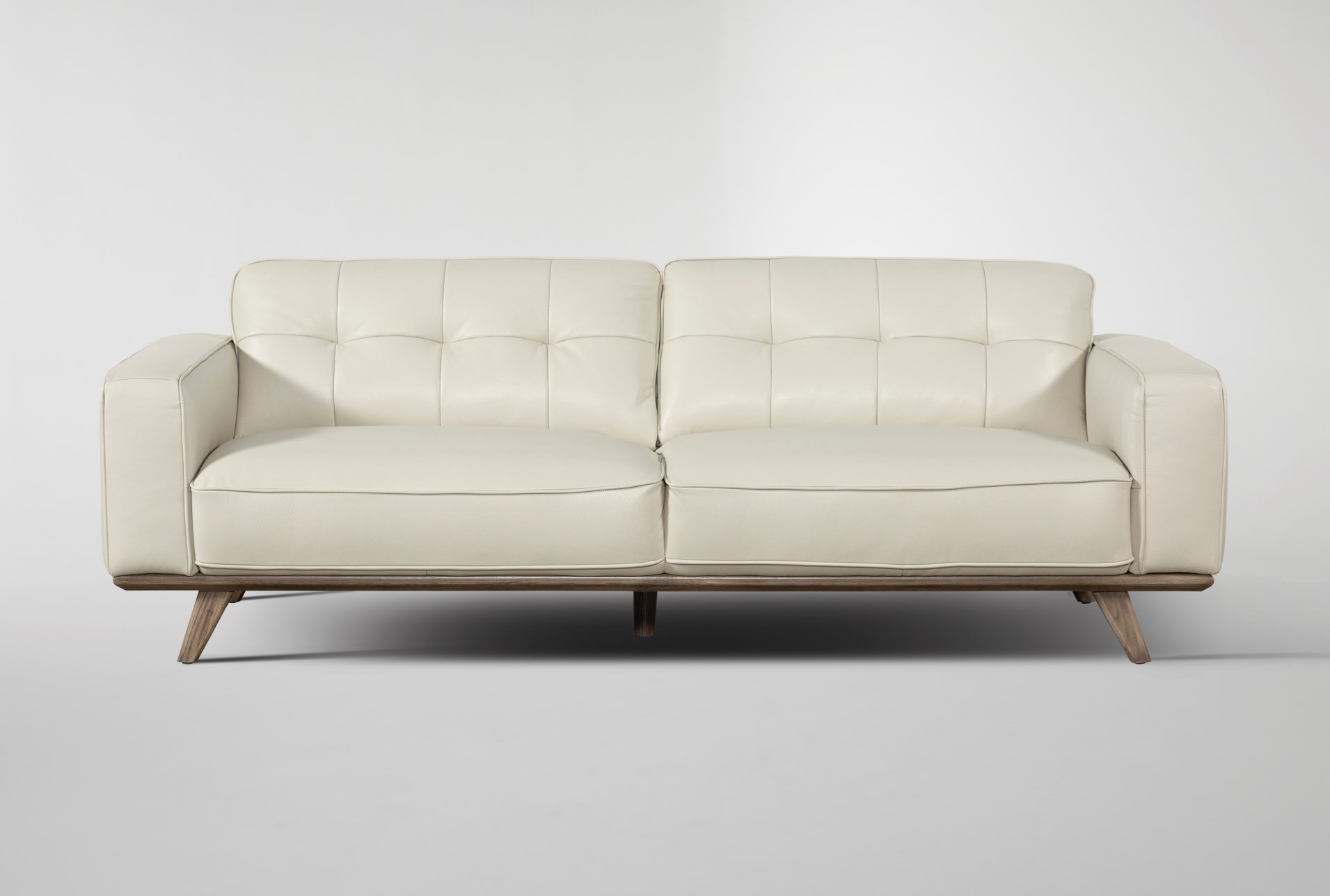 "Caressa Leather Dove Grey 90"" Sofa | Living Spaces"