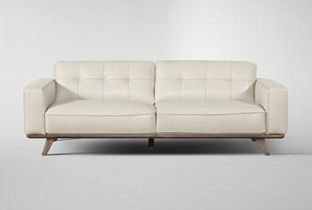 "Caressa Leather Dove Grey 90"" Sofa"