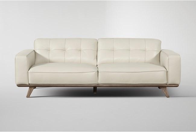 "Caressa Leather Dove Grey 90"" Sofa - 360"