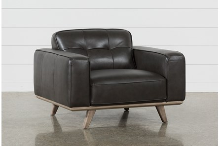 Caressa Leather Dark Grey Chair - Main