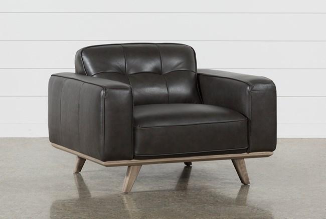 Caressa Leather Dark Grey Chair - 360