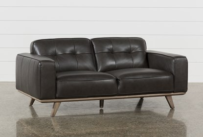 Super Caressa Leather Dark Grey Loveseat Inzonedesignstudio Interior Chair Design Inzonedesignstudiocom