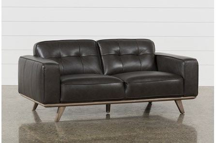 Caressa Leather Dark Grey Loveseat - Main