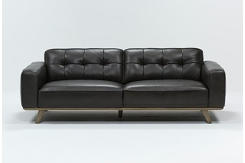 "Caressa Leather Dark Grey 90"" Sofa"