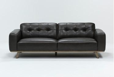 "Caressa Leather Dark Grey 90"" Sofa"